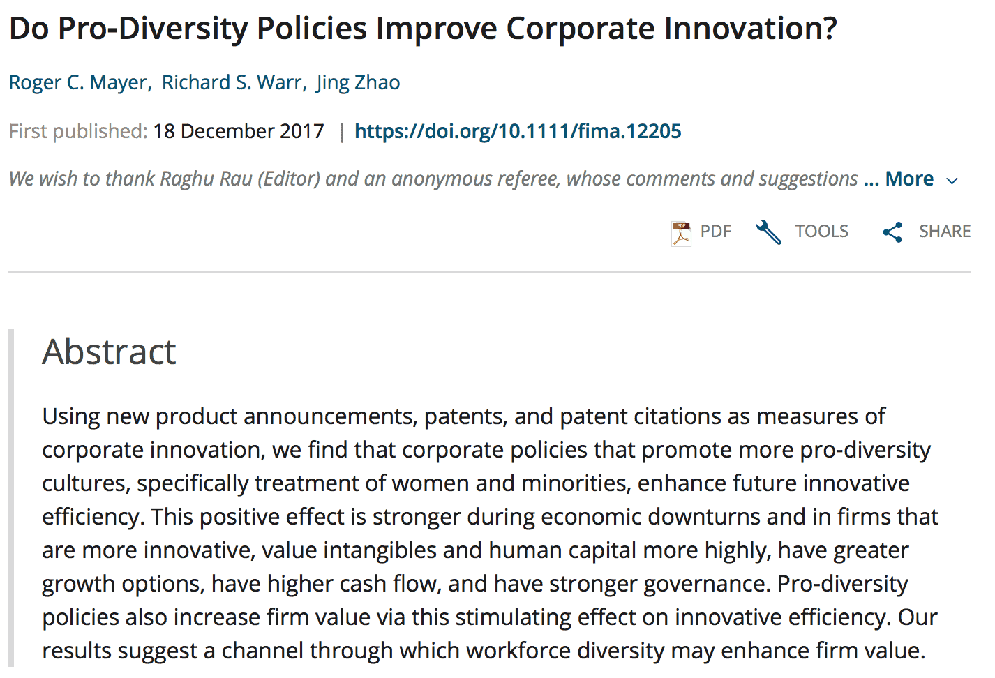 Do Pro‐Diversity Policies Improve Corporate Innovation?