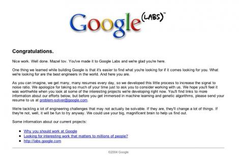 landing page curiosity google