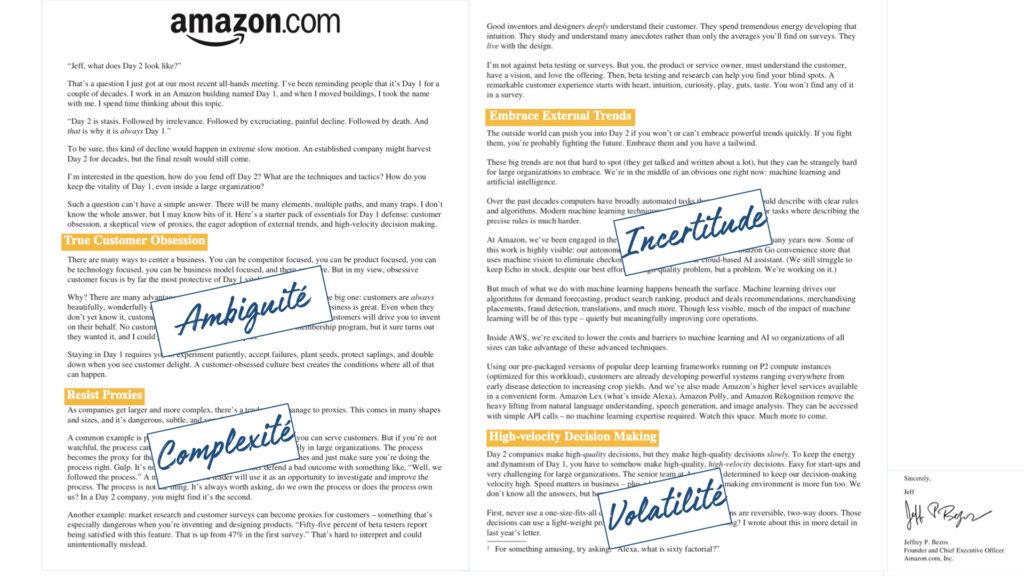 lettre actionnaire VUCA Amazon